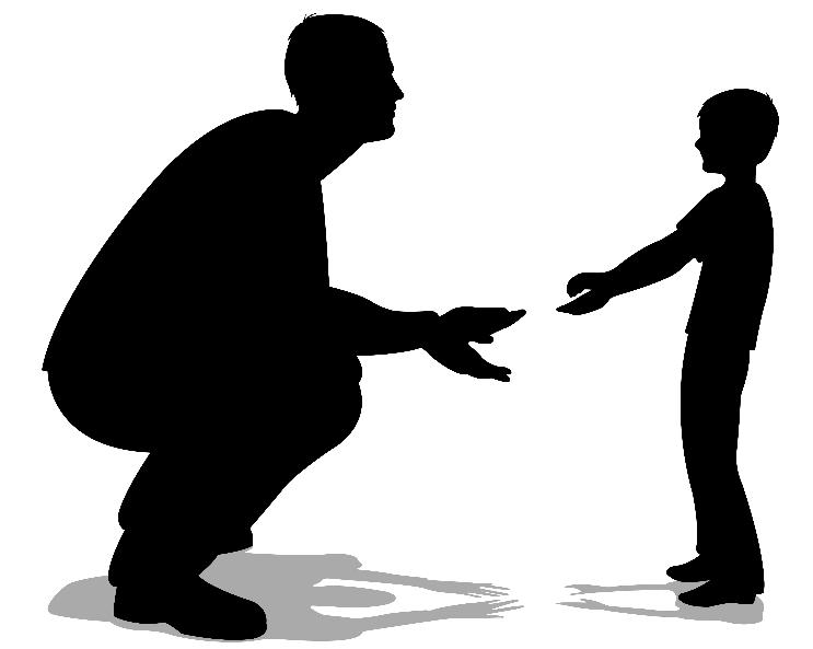 father talking with son silhouette vector
